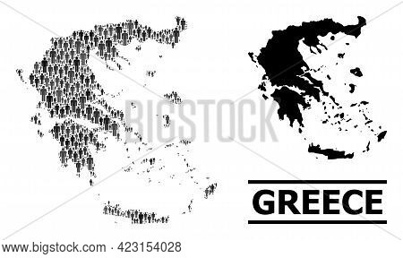 Map Of Greece For Demographics Doctrines. Vector Demographics Mosaic. Composition Map Of Greece Comp