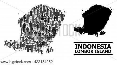 Map Of Lombok Island For Demographics Projects. Vector Demographics Abstraction. Abstraction Map Of