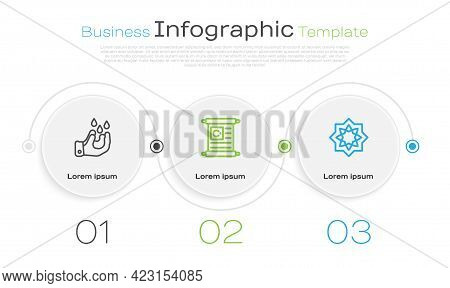 Set Line Wudhu, Holy Book Of Koran And Octagonal Star. Business Infographic Template. Vector