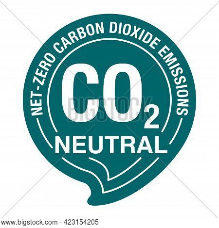 Co2 Neutral Green Badge. Net Zero Carbon Footprint In Bubble Shape - Carbon Emissions Free No Air At