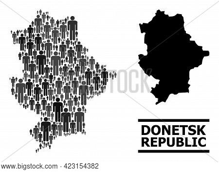 Map Of Donetsk Republic For Demographics Projects. Vector Demographics Mosaic. Mosaic Map Of Donetsk