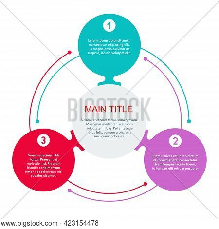 Circular Infographic Template. 3 Steps Or Points In Different Colors And Main Title Inside With Samp