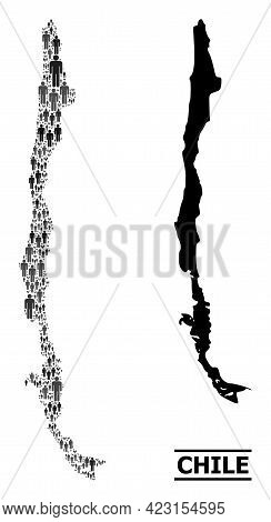 Map Of Chile For Political Promotion. Vector Demographics Mosaic. Mosaic Map Of Chile Made Of Popula