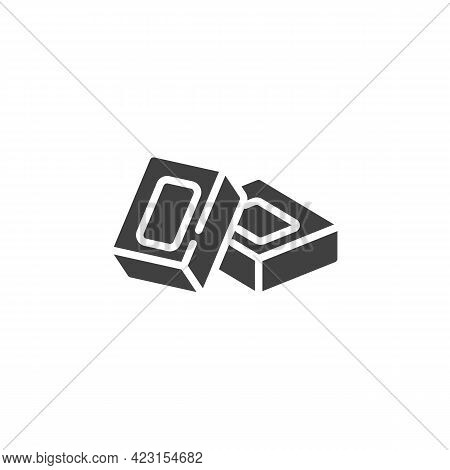 Square Piece Of Chocolate Bar Vector Icon. Filled Flat Sign For Mobile Concept And Web Design. Choco