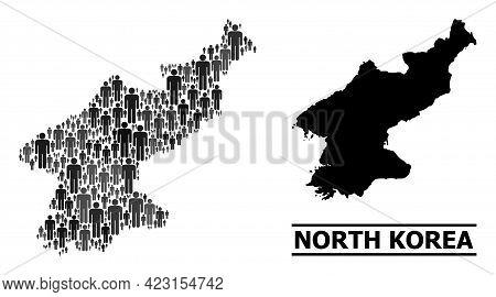 Map Of North Korea For Demographics Purposes. Vector Demographics Mosaic. Mosaic Map Of North Korea