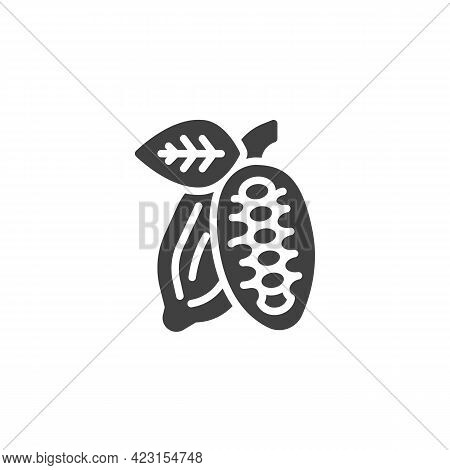 Cocoa Bean Vector Icon. Filled Flat Sign For Mobile Concept And Web Design. Cocoa Seed Pod Glyph Ico