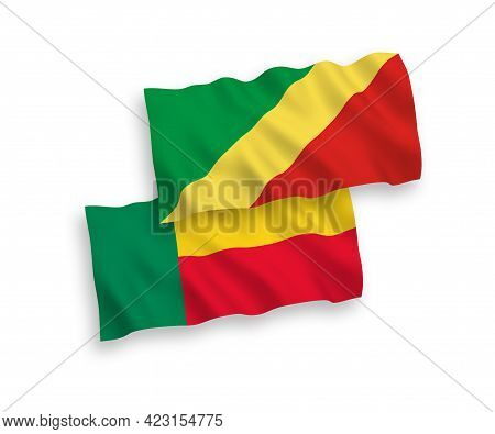 National Fabric Wave Flags Of Republic Of The Congo And Benin Isolated On White Background. 1 To 2 P