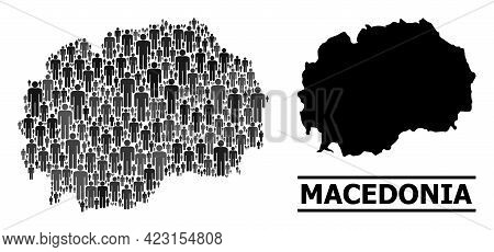 Map Of Macedonia For Demographics Applications. Vector Nation Mosaic. Concept Map Of Macedonia Compo
