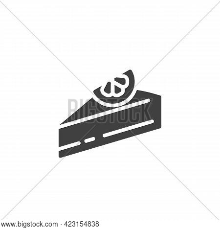 Chocolate Cheesecake Vector Icon. Filled Flat Sign For Mobile Concept And Web Design. Piece Of Cake