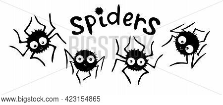 Set Of Cute Vector Spiders With Lettering. Hand Drawn Funny Insects In Doodle Flat Style Isolated On