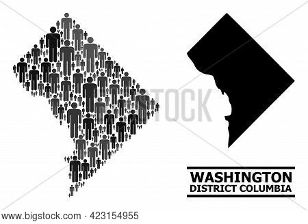Map Of District Columbia For Social Agitation. Vector Nation Mosaic. Mosaic Map Of District Columbia