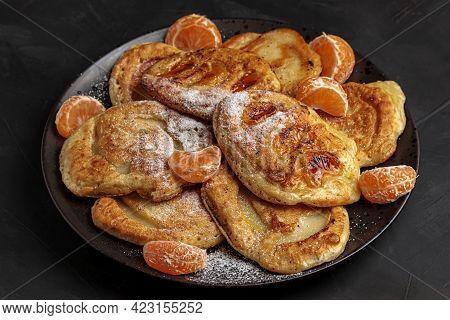 Pancake Breakfast. Sweet Homemade Dessert Plate. Delicious Morning Cuisine With Tasty Fresh Tangerin