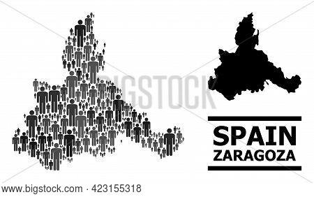 Map Of Zaragoza Province For National Agitprop. Vector Nation Collage. Collage Map Of Zaragoza Provi