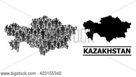 Map Of Kazakhstan For Social Purposes. Vector Demographics Collage. Collage Map Of Kazakhstan Done O