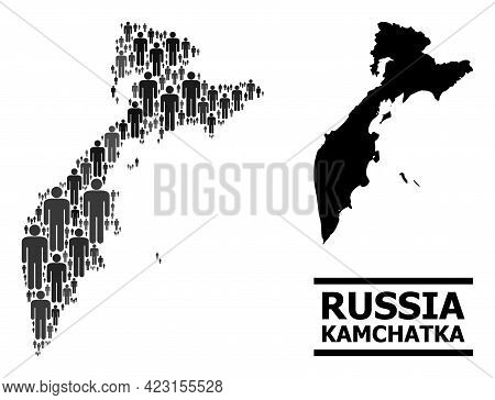 Map Of Kamchatka Peninsula For Politics Promotion. Vector Demographics Abstraction. Concept Map Of K