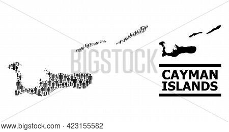 Map Of Cayman Islands For Demographics Proclamations. Vector Population Mosaic. Collage Map Of Cayma