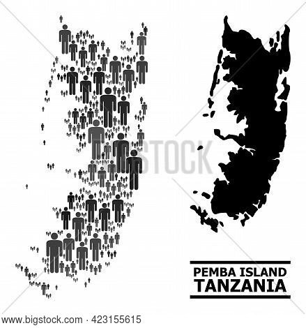 Map Of Pemba Island For Political Doctrines. Vector Population Mosaic. Concept Map Of Pemba Island D