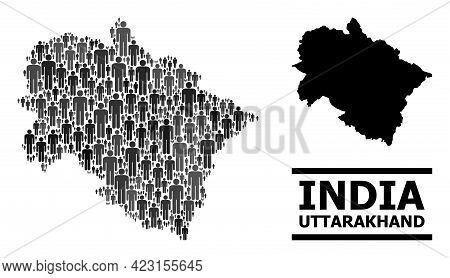 Map Of Uttarakhand State For Demographics Doctrines. Vector Demographics Mosaic. Mosaic Map Of Uttar