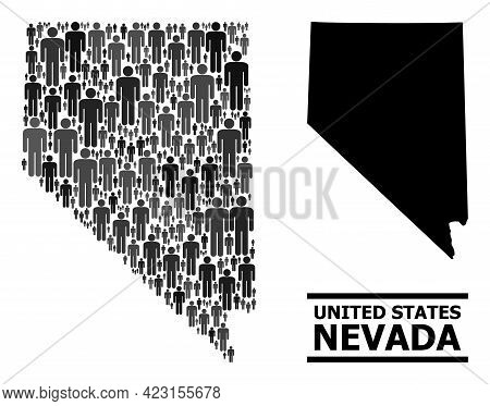 Map Of Nevada State For Demographics Agitprop. Vector Demographics Collage. Pattern Map Of Nevada St