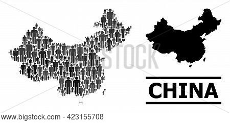 Map Of China For Politics Applications. Vector Nation Abstraction. Abstraction Map Of China Designed