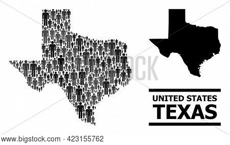 Map Of Texas State For Political Propaganda. Vector Demographics Abstraction. Abstraction Map Of Tex
