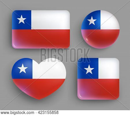 Set Of Glossy Buttons With Chile Country Flag. South America Country National Flag, Shiny Geometric