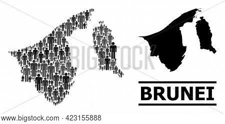 Map Of Brunei For Demographics Propaganda. Vector Demographics Mosaic. Concept Map Of Brunei Compose