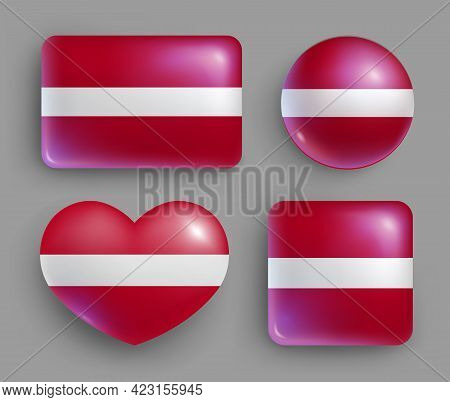 Set Of Glossy Buttons With Latvia Country Flag. North Europe Country National Flag Shiny Badges Of G
