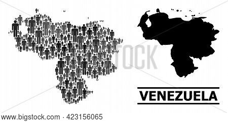Map Of Venezuela For Social Projects. Vector Demographics Collage. Collage Map Of Venezuela Composed