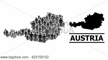Map Of Austria For Political Proclamations. Vector Demographics Collage. Collage Map Of Austria Done