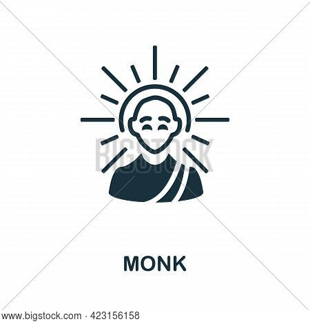 Monk Icon. Monochrome Simple Element From Fortune Teller Collection. Creative Monk Icon For Web Desi