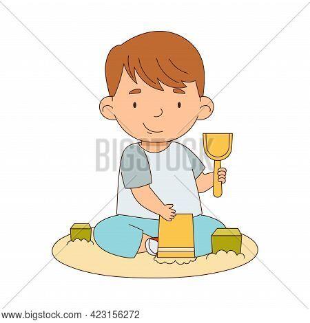 Cute Boy Playing In Sandbox Having Fun On His Own Enjoying Childhood Vector Illustration
