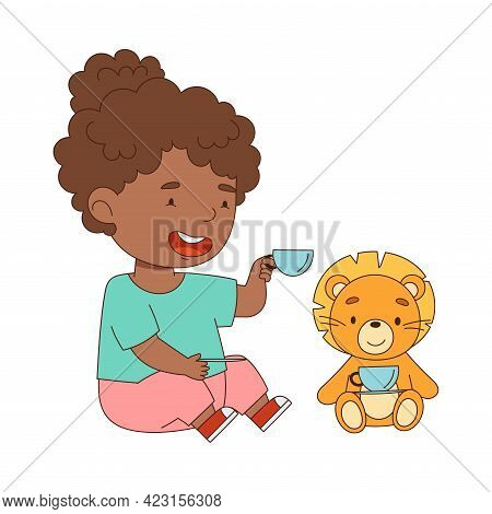 Cute African American Girl Playing With Stuffed Lion Toy Having Fun On Her Own Enjoying Childhood Ve