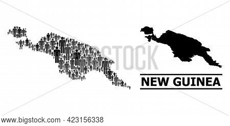Map Of New Guinea Island For Demographics Promotion. Vector Demographics Mosaic. Mosaic Map Of New G