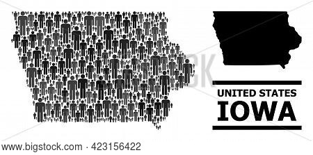 Map Of Iowa State For Demographics Projects. Vector Demographics Abstraction. Pattern Map Of Iowa St