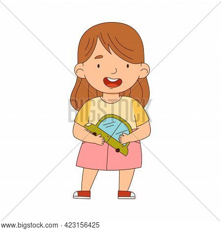 Cute Girl Playing With Toy Car Having Fun On Her Own Enjoying Childhood Vector Illustration