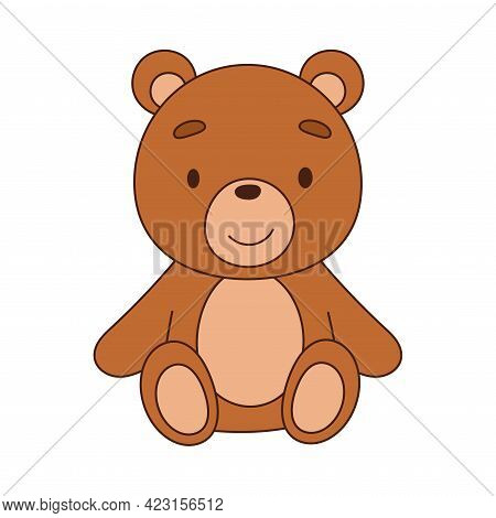 Stuffed Teddy Bear Toy For Children To Play Vector Illustration
