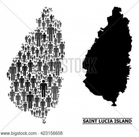 Map Of Saint Lucia Island For Social Doctrines. Vector Nation Mosaic. Concept Map Of Saint Lucia Isl