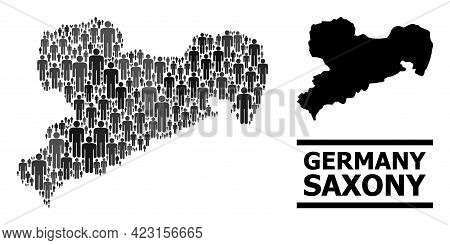 Map Of Saxony State For Demographics Purposes. Vector Demographics Abstraction. Concept Map Of Saxon