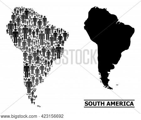 Map Of South America For Political Promotion. Vector Population Abstraction. Abstraction Map Of Sout