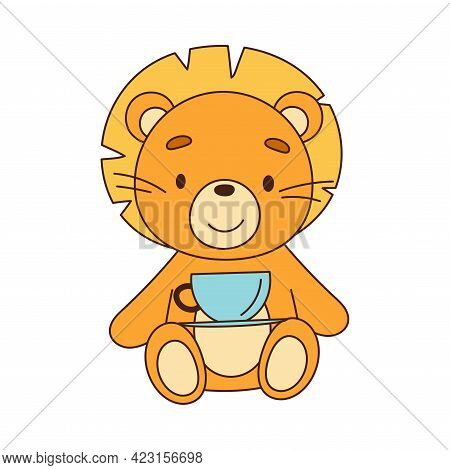 Stuffed Lion Toy For Children To Play Vector Illustration