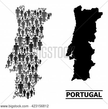 Map Of Portugal For Demographics Applications. Vector Demographics Collage. Collage Map Of Portugal