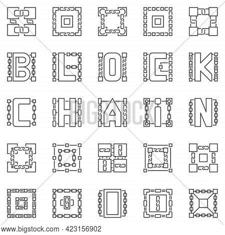 Block Chain Outline Icons Set. Decentralized Blockchain Symbols