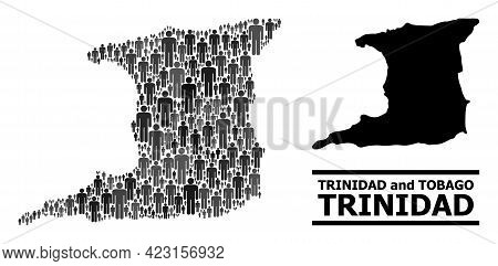 Map Of Trinidad Island For Demographics Purposes. Vector Demographics Abstraction. Composition Map O