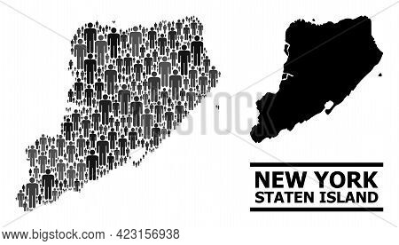 Map Of Staten Island For Demographics Proclamations. Vector Demographics Abstraction. Concept Map Of