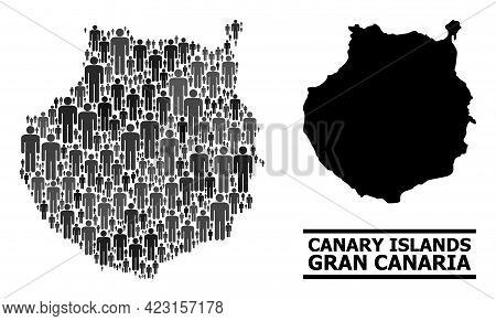 Map Of Gran Canaria For Social Posters. Vector Nation Collage. Collage Map Of Gran Canaria Composed