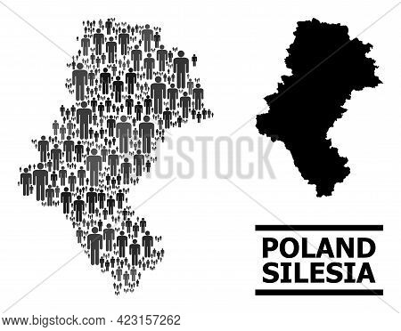 Map Of Silesia Province For Demographics Purposes. Vector Population Abstraction. Abstraction Map Of