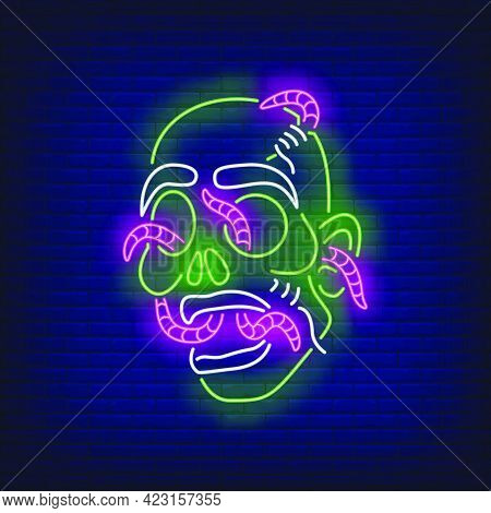 Zombie Head With Worms Neon Sign. Halloween, Monster, Horror Design. Night Bright Neon Sign, Colorfu