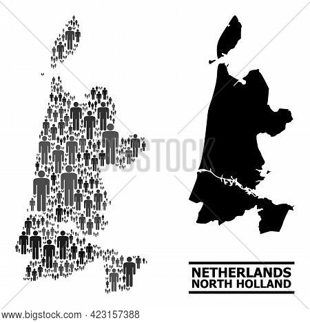 Map Of North Holland For Politics Proclamations. Vector Demographics Collage. Collage Map Of North H