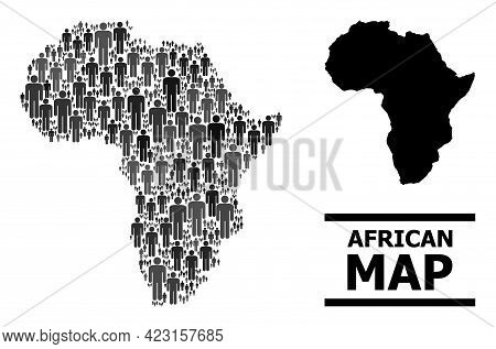 Map Of Africa For Demographics Applications. Vector Demographics Mosaic. Collage Map Of Africa Made